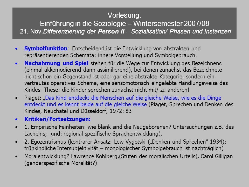 Vorlesung: Einführung in die Soziologie – Wintersemester 2007/08 21. Nov.Differenzierung der Person II – Sozialisation/ Phasen und Instanzen Symbolfun