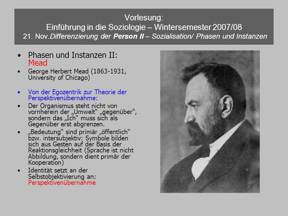 Vorlesung: Einführung in die Soziologie – Wintersemester 2007/08 21. Nov.Differenzierung der Person II – Sozialisation/ Phasen und Instanzen Phasen un