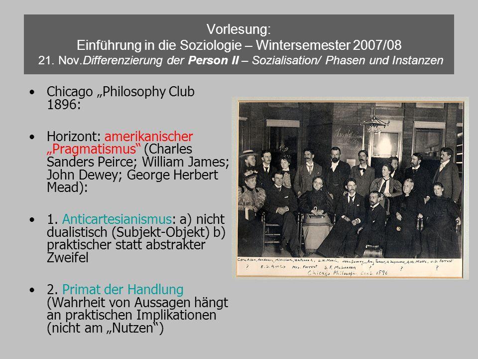 Vorlesung: Einführung in die Soziologie – Wintersemester 2007/08 21. Nov.Differenzierung der Person II – Sozialisation/ Phasen und Instanzen Chicago P