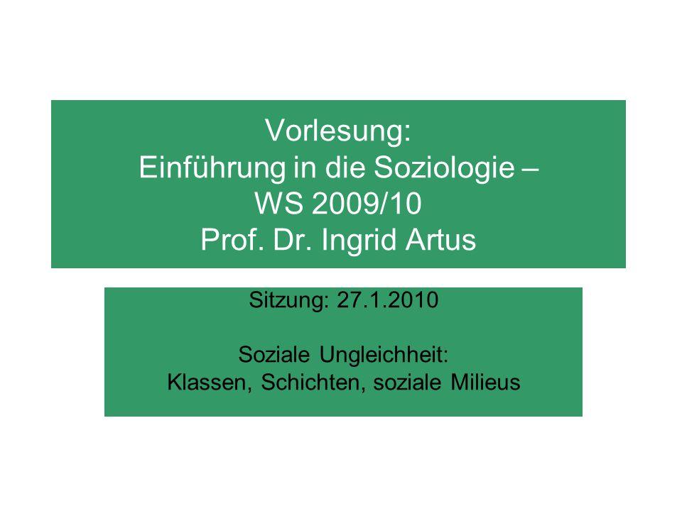 Vorlesung: Einführung in die Soziologie – WS 2009/10 Prof. Dr. Ingrid Artus Sitzung: 27.1.2010 Soziale Ungleichheit: Klassen, Schichten, soziale Milie