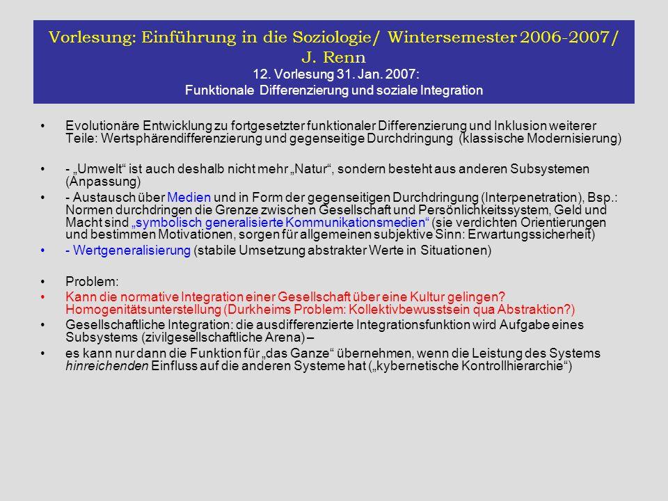Vorlesung: Einführung in die Soziologie/ Wintersemester 2006-2007/ J. Renn 12. Vorlesung 31. Jan. 2007: Funktionale Differenzierung und soziale Integr