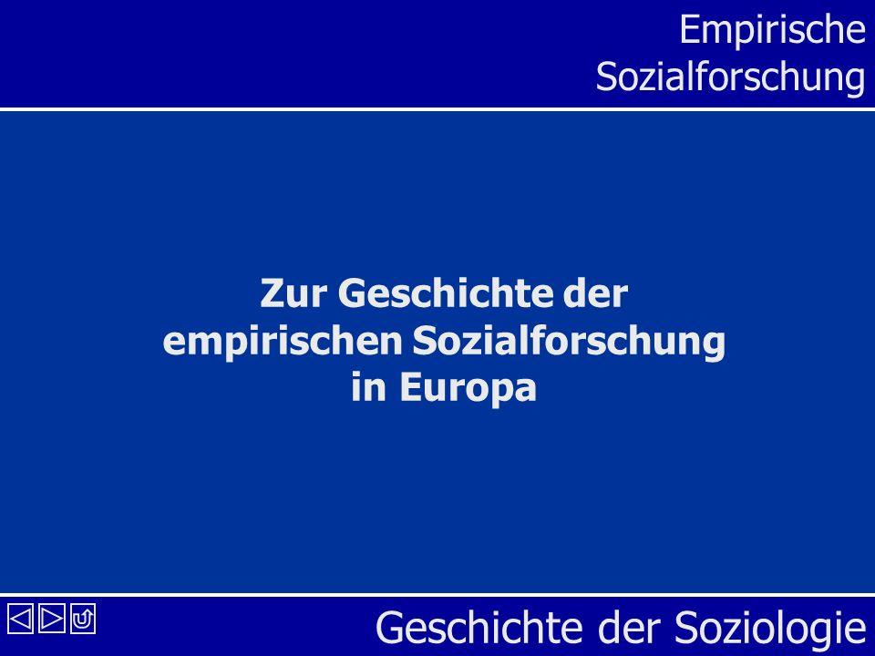 Geschichte der Soziologie Empirische Sozialforschung Zur Geschichte der empirischen Sozialforschung in Europa