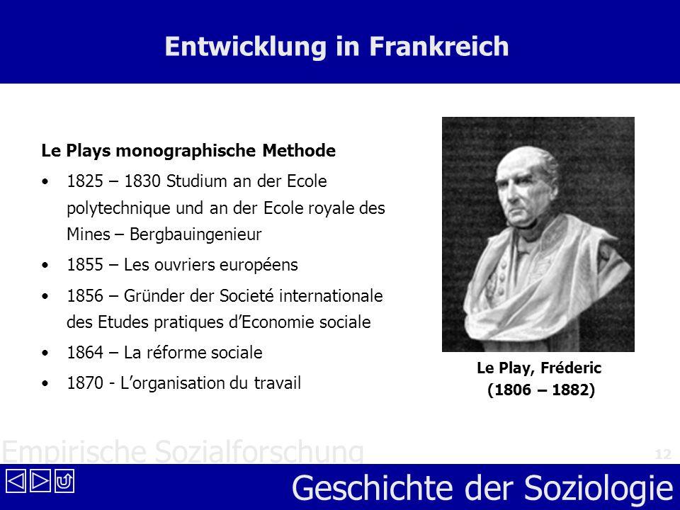Empirische Sozialforschung Geschichte der Soziologie 12 Entwicklung in Frankreich Le Plays monographische Methode 1825 – 1830 Studium an der Ecole pol