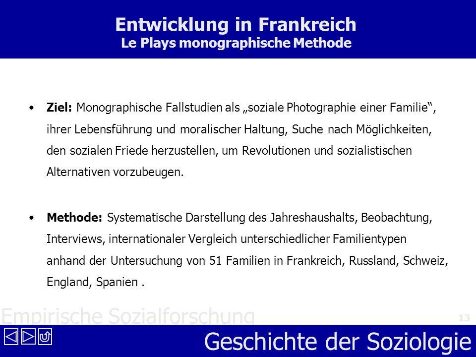 Empirische Sozialforschung Geschichte der Soziologie 13 Entwicklung in Frankreich Le Plays monographische Methode Ziel: Monographische Fallstudien als