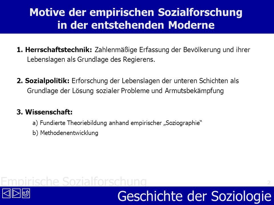 Empirische Sozialforschung Geschichte der Soziologie 2 Motive der empirischen Sozialforschung in der entstehenden Moderne 1. Herrschaftstechnik: Zahle