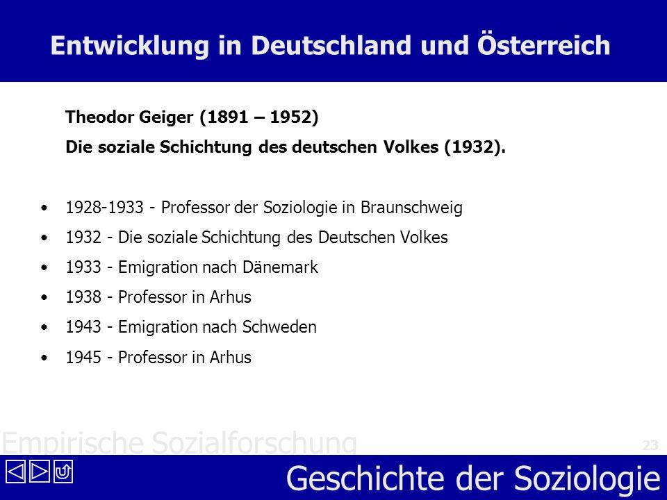 Empirische Sozialforschung Geschichte der Soziologie 23 Entwicklung in Deutschland und Österreich Theodor Geiger (1891 – 1952) Die soziale Schichtung