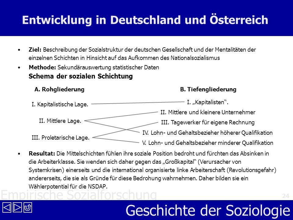 Empirische Sozialforschung Geschichte der Soziologie 24 Entwicklung in Deutschland und Österreich Ziel: Beschreibung der Sozialstruktur der deutschen