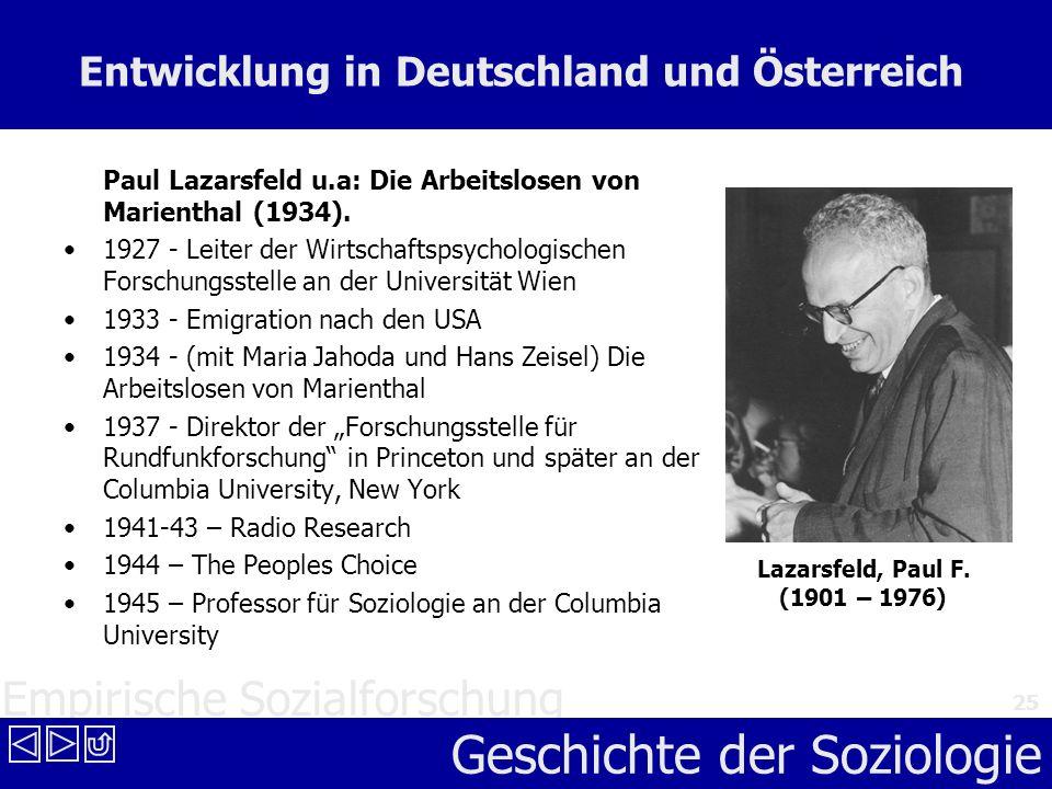 Empirische Sozialforschung Geschichte der Soziologie 25 Entwicklung in Deutschland und Österreich Paul Lazarsfeld u.a: Die Arbeitslosen von Marienthal