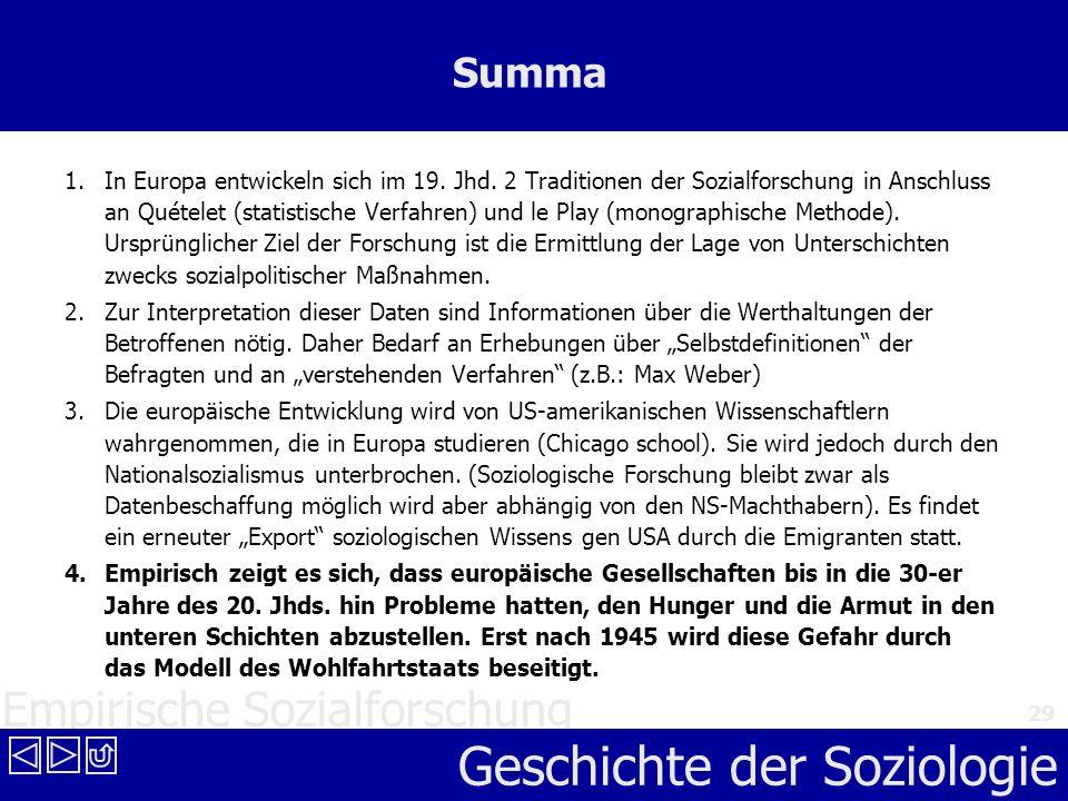 Empirische Sozialforschung Geschichte der Soziologie 29 Summa 1. In Europa entwickeln sich im 19. Jhd. 2 Traditionen der Sozialforschung in Anschluss