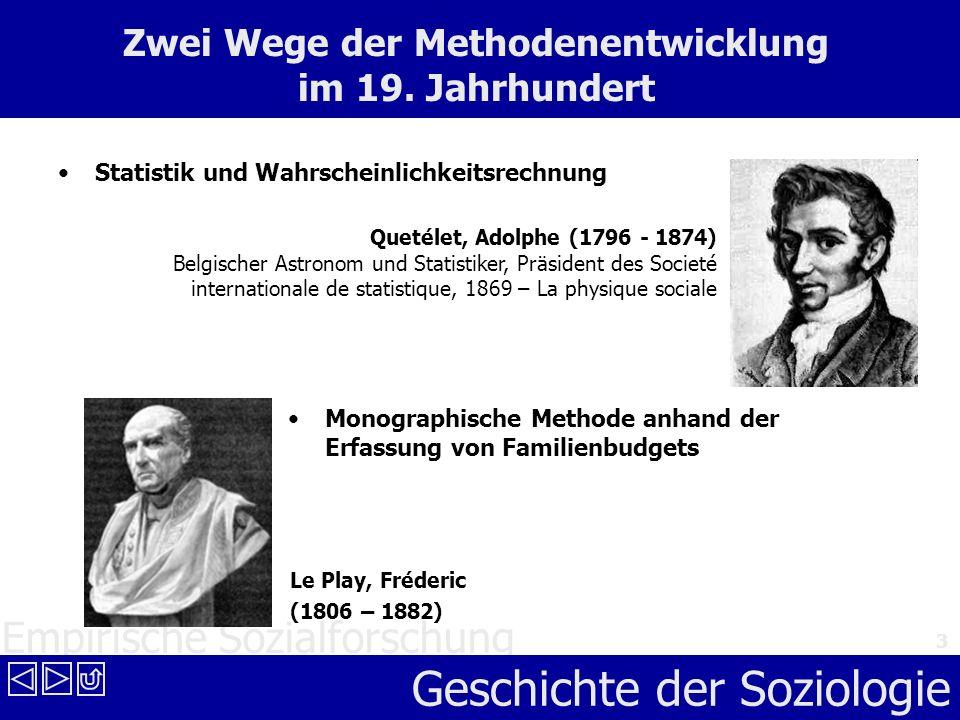 Empirische Sozialforschung Geschichte der Soziologie 3 Zwei Wege der Methodenentwicklung im 19. Jahrhundert Statistik und Wahrscheinlichkeitsrechnung