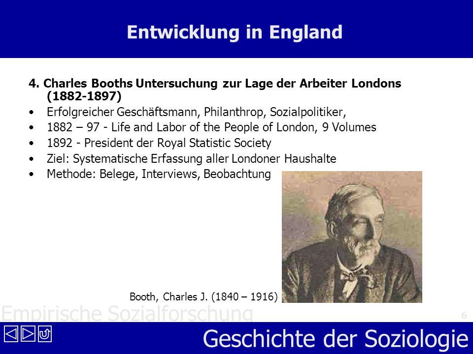 Empirische Sozialforschung Geschichte der Soziologie 6 Entwicklung in England 4. Charles Booths Untersuchung zur Lage der Arbeiter Londons (1882-1897)