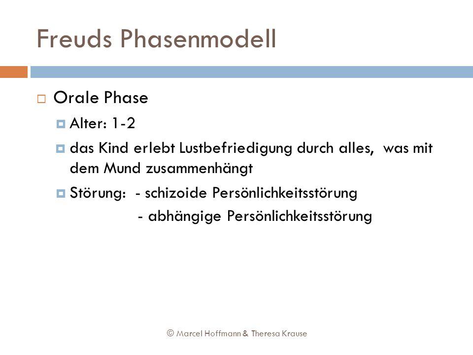 Freuds Phasenmodell Orale Phase Alter: 1-2 das Kind erlebt Lustbefriedigung durch alles, was mit dem Mund zusammenhängt Störung: - schizoide Persönlic
