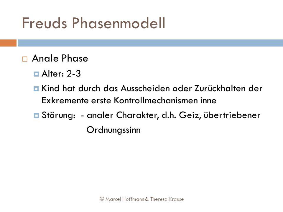Freuds Phasenmodell Anale Phase Alter: 2-3 Kind hat durch das Ausscheiden oder Zurückhalten der Exkremente erste Kontrollmechanismen inne Störung: - a
