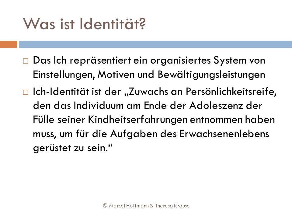 Was ist Identität? Das Ich repräsentiert ein organisiertes System von Einstellungen, Motiven und Bewältigungsleistungen Ich-Identität ist der Zuwachs