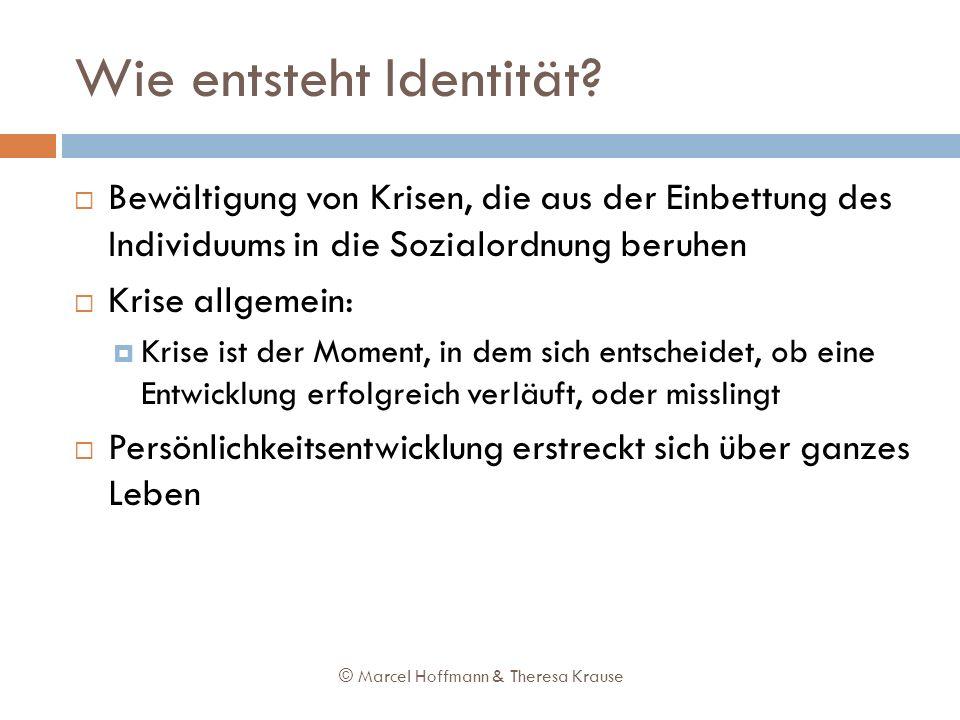 Wie entsteht Identität? Bewältigung von Krisen, die aus der Einbettung des Individuums in die Sozialordnung beruhen Krise allgemein: Krise ist der Mom