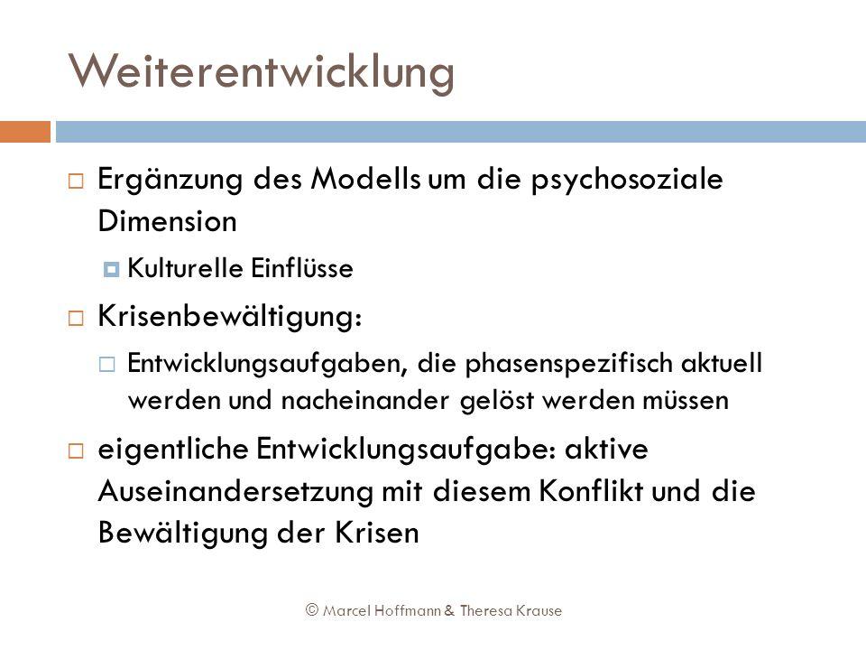 Weiterentwicklung Ergänzung des Modells um die psychosoziale Dimension Kulturelle Einflüsse Krisenbewältigung: Entwicklungsaufgaben, die phasenspezifi