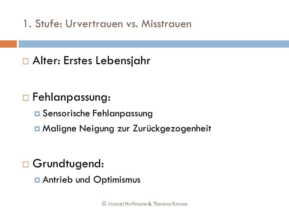 1. Stufe: Urvertrauen vs. Misstrauen Alter: Erstes Lebensjahr Fehlanpassung: Sensorische Fehlanpassung Maligne Neigung zur Zurückgezogenheit Grundtuge