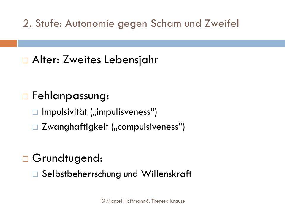 2. Stufe: Autonomie gegen Scham und Zweifel Alter: Zweites Lebensjahr Fehlanpassung: Impulsivität (impulisveness) Zwanghaftigkeit (compulsiveness) Gru