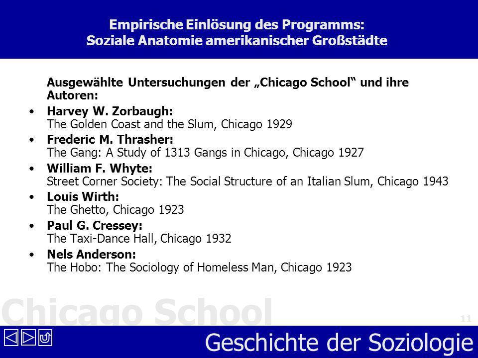 Chicago School Geschichte der Soziologie 11 Empirische Einlösung des Programms: Soziale Anatomie amerikanischer Großstädte Ausgewählte Untersuchungen