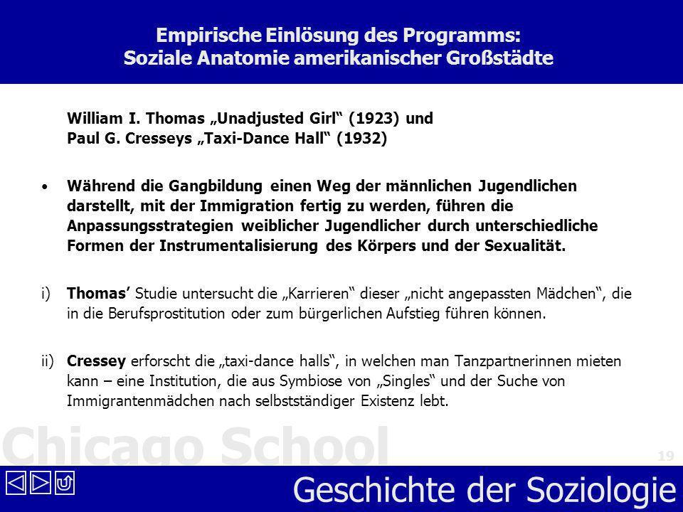 Chicago School Geschichte der Soziologie 19 Empirische Einlösung des Programms: Soziale Anatomie amerikanischer Großstädte William I. Thomas Unadjuste
