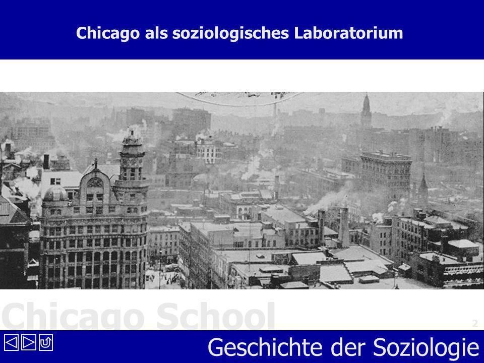 Chicago School Geschichte der Soziologie 2 Chicago als soziologisches Laboratorium