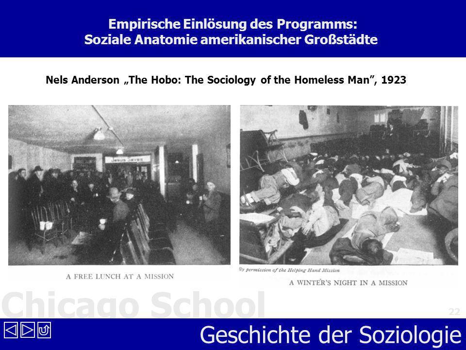 Chicago School Geschichte der Soziologie 22 Empirische Einlösung des Programms: Soziale Anatomie amerikanischer Großstädte Nels Anderson The Hobo: The