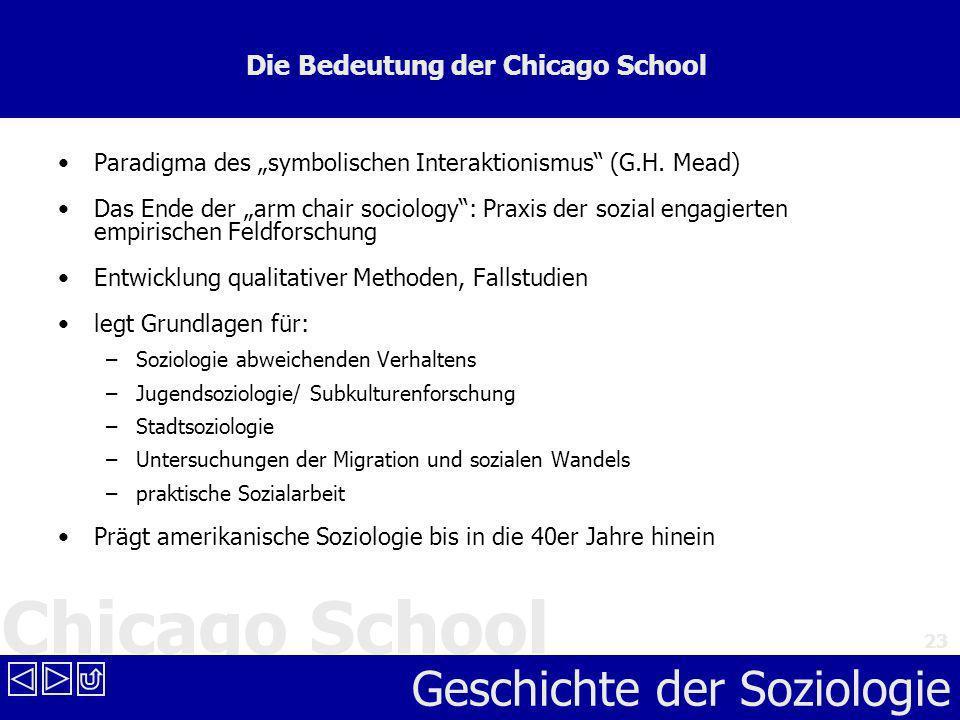 Chicago School Geschichte der Soziologie 23 Die Bedeutung der Chicago School Paradigma des symbolischen Interaktionismus (G.H. Mead) Das Ende der arm