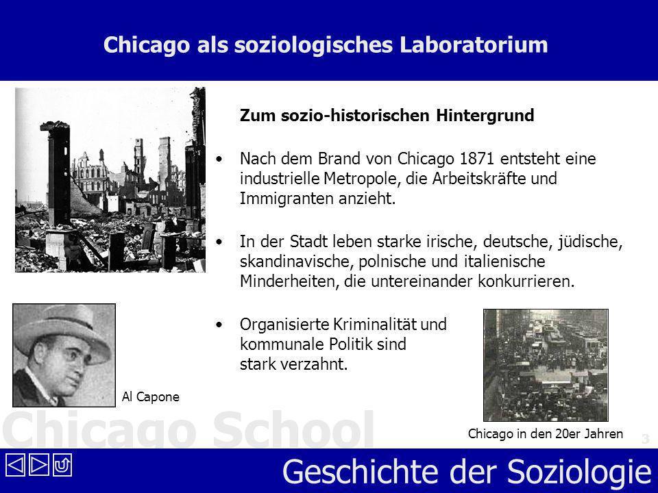 Chicago School Geschichte der Soziologie 3 Chicago als soziologisches Laboratorium Zum sozio-historischen Hintergrund Nach dem Brand von Chicago 1871