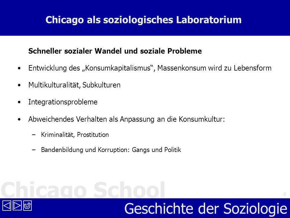 Chicago School Geschichte der Soziologie 4 Chicago als soziologisches Laboratorium Schneller sozialer Wandel und soziale Probleme Entwicklung des Kons