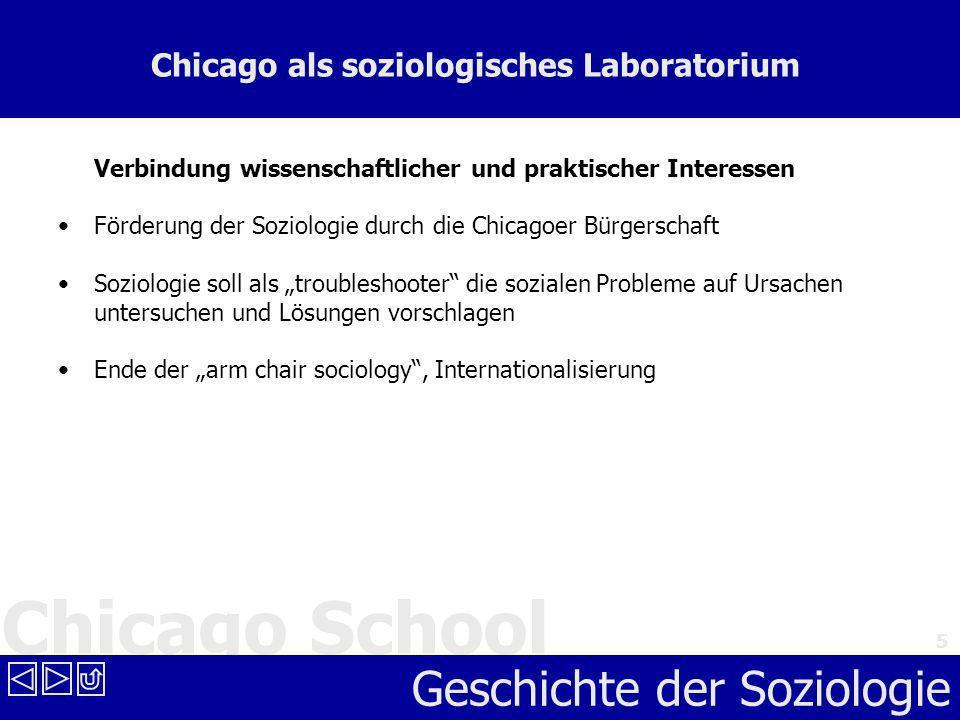 Chicago School Geschichte der Soziologie 5 Chicago als soziologisches Laboratorium Verbindung wissenschaftlicher und praktischer Interessen Förderung