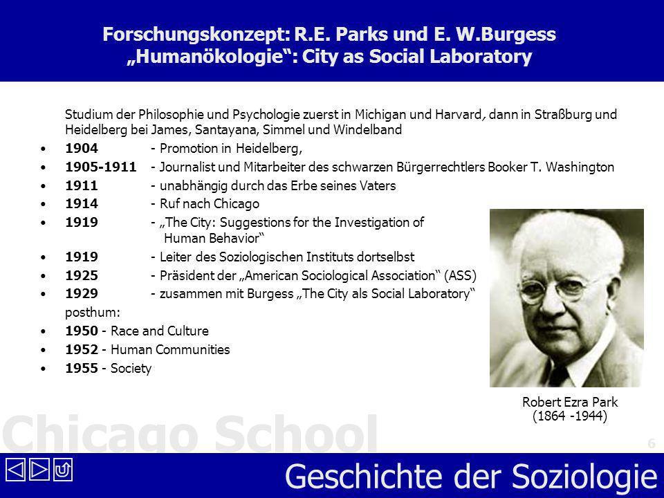 Chicago School Geschichte der Soziologie 6 Forschungskonzept: R.E. Parks und E. W.Burgess Humanökologie: City as Social Laboratory Studium der Philoso
