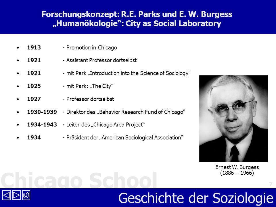 Chicago School Geschichte der Soziologie 7 Forschungskonzept: R.E. Parks und E. W. Burgess Humanökologie: City as Social Laboratory 1913 - Promotion i