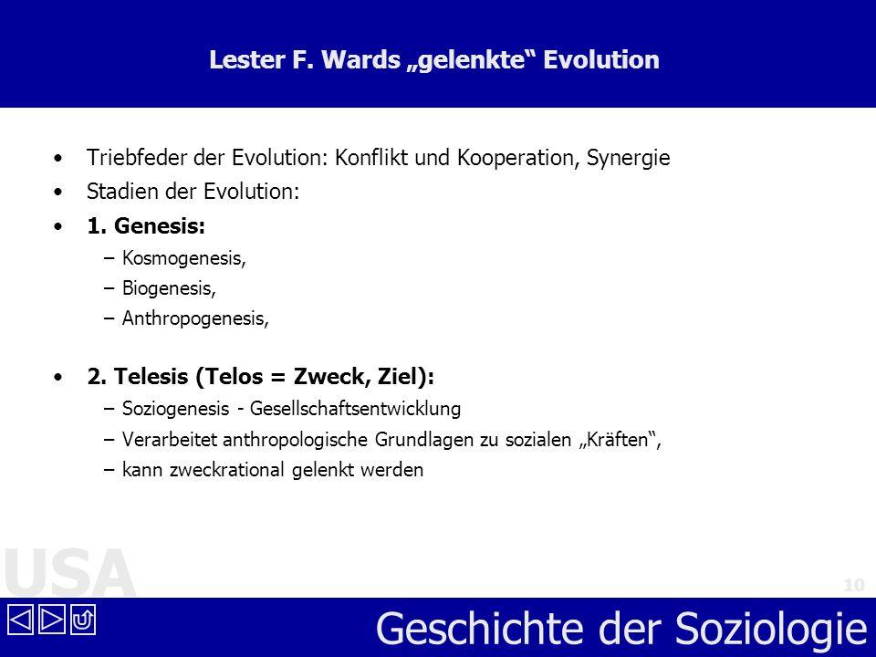 USA Geschichte der Soziologie 10 Lester F. Wards gelenkte Evolution Triebfeder der Evolution: Konflikt und Kooperation, Synergie Stadien der Evolution