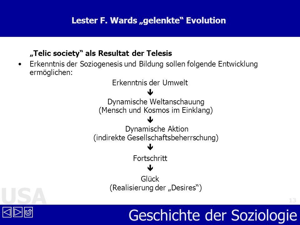 USA Geschichte der Soziologie 13 Lester F. Wards gelenkte Evolution Telic society als Resultat der Telesis Erkenntnis der Soziogenesis und Bildung sol