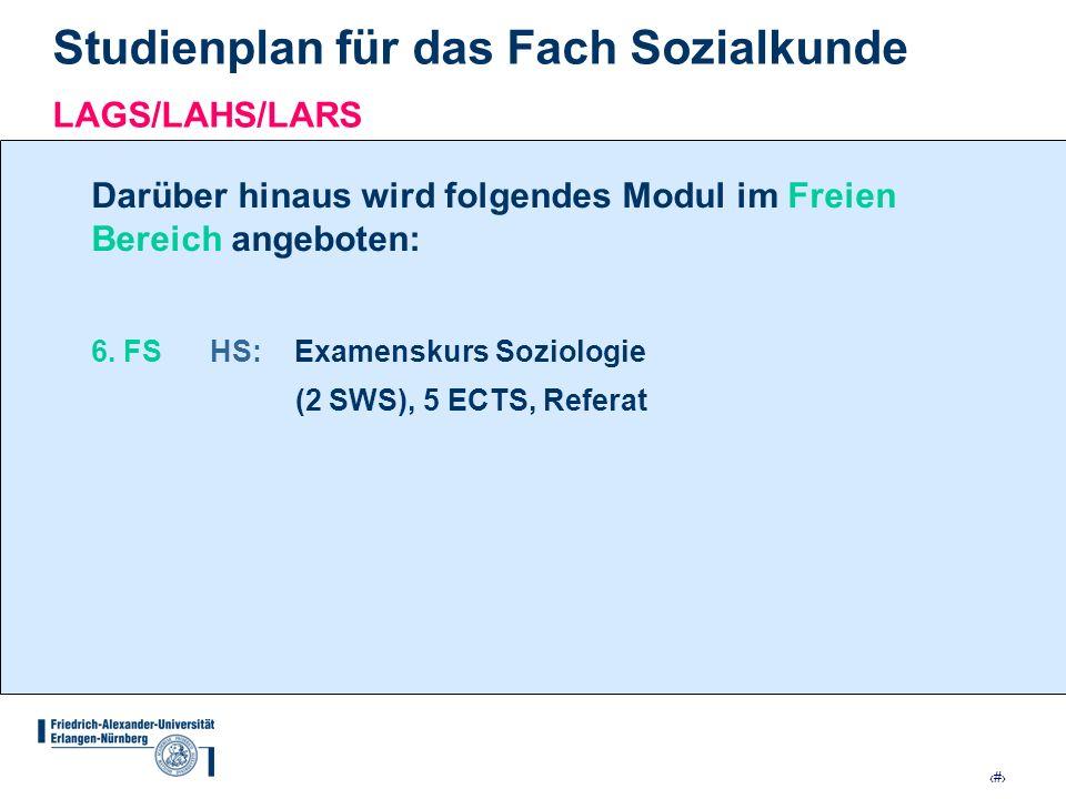 11 Studienplan für das Fach Sozialkunde LAGS/LAHS/LARS Darüber hinaus wird folgendes Modul im Freien Bereich angeboten: 6. FS HS: Examenskurs Soziolog