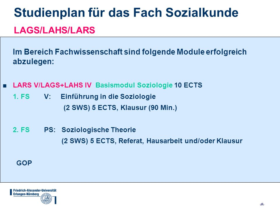 9 Studienplan für das Fach Sozialkunde LAGS/LAHS/LARS Im Bereich Fachwissenschaft sind folgende Module erfolgreich abzulegen: LARS V/LAGS+LAHS IV Basi