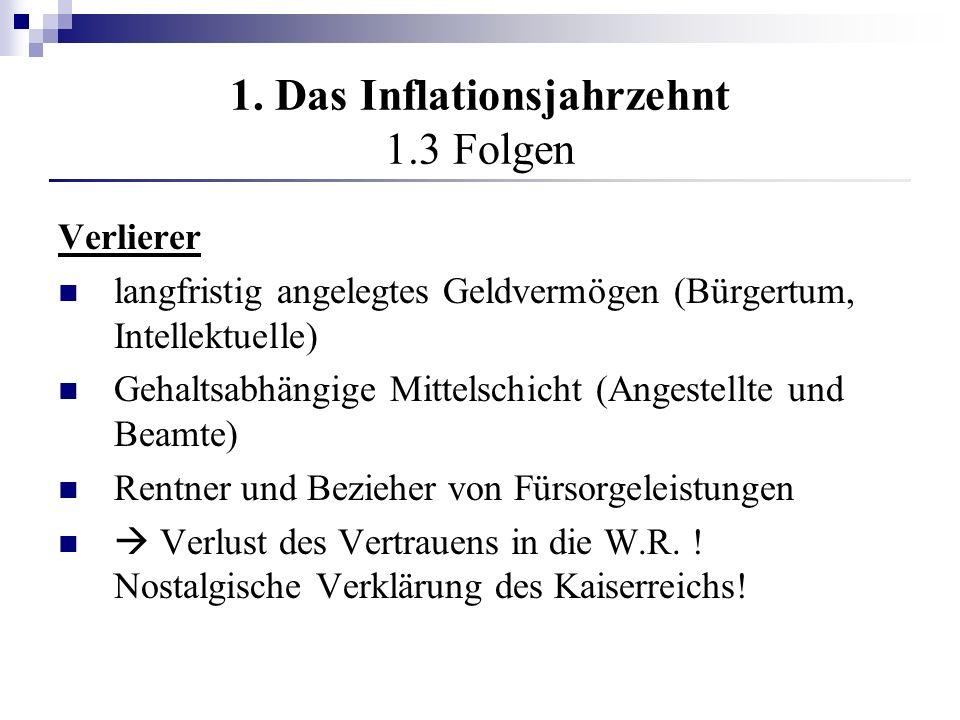 1. Das Inflationsjahrzehnt 1.3 Folgen Verlierer langfristig angelegtes Geldvermögen (Bürgertum, Intellektuelle) Gehaltsabhängige Mittelschicht (Angest