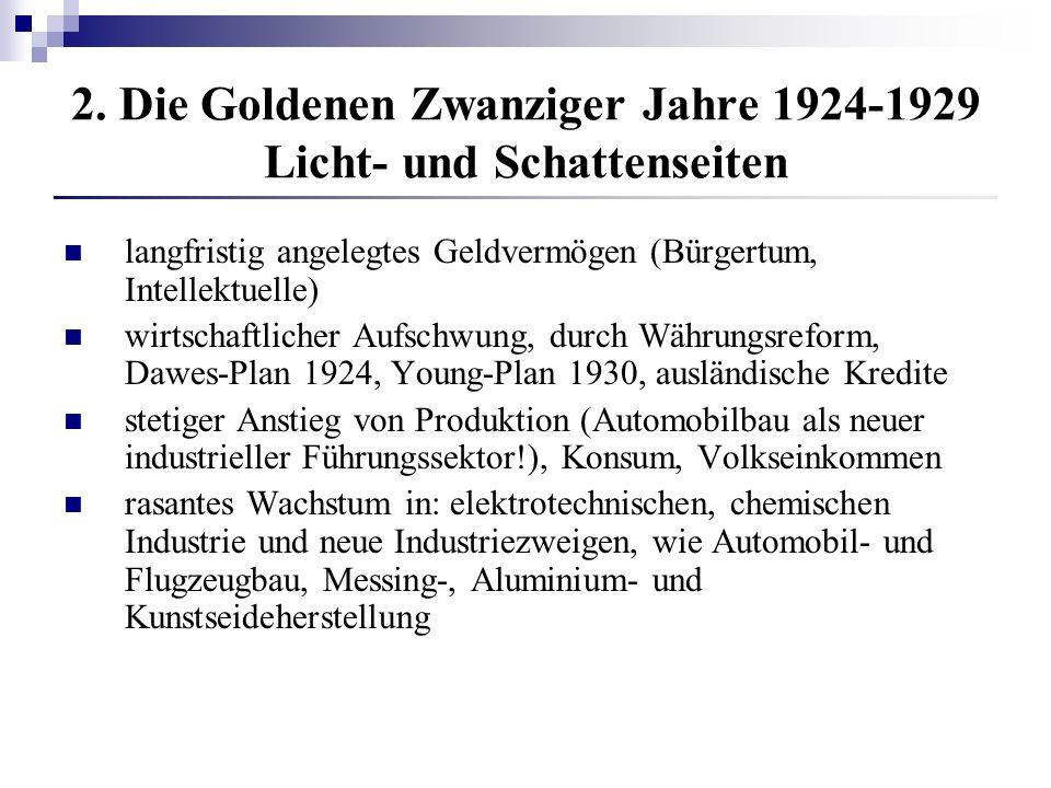 2. Die Goldenen Zwanziger Jahre 1924-1929 Licht- und Schattenseiten langfristig angelegtes Geldvermögen (Bürgertum, Intellektuelle) wirtschaftlicher A