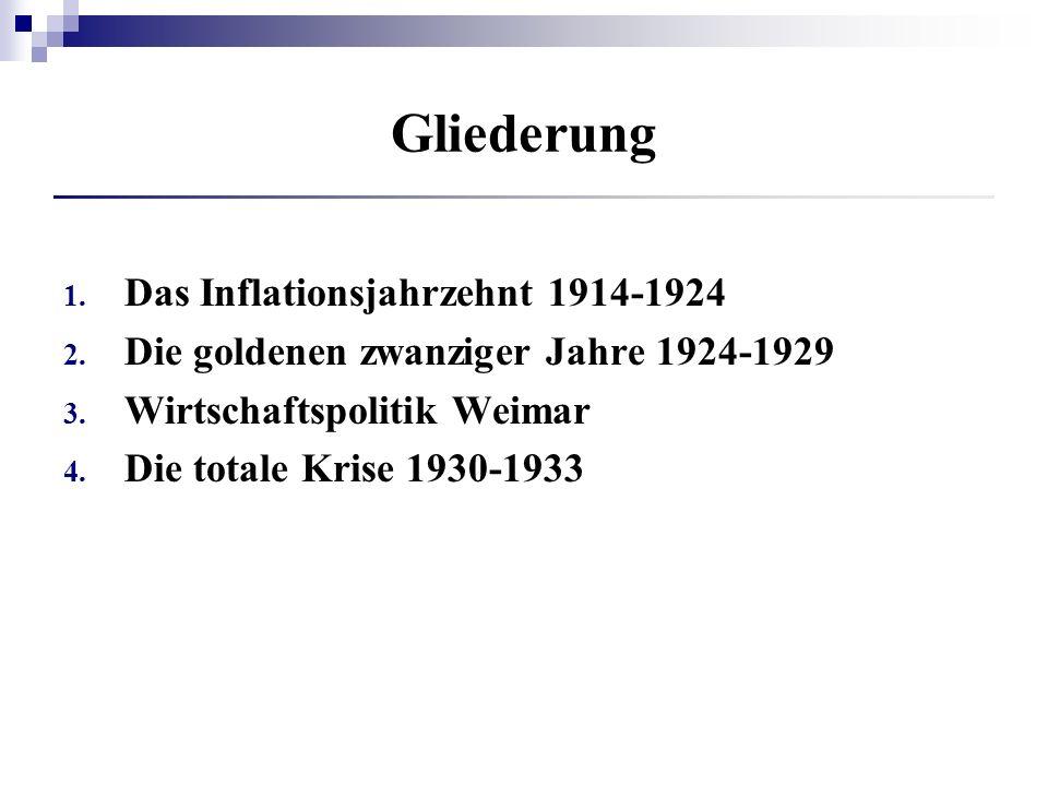 Gliederung 1. Das Inflationsjahrzehnt 1914-1924 2. Die goldenen zwanziger Jahre 1924-1929 3. Wirtschaftspolitik Weimar 4. Die totale Krise 1930-1933