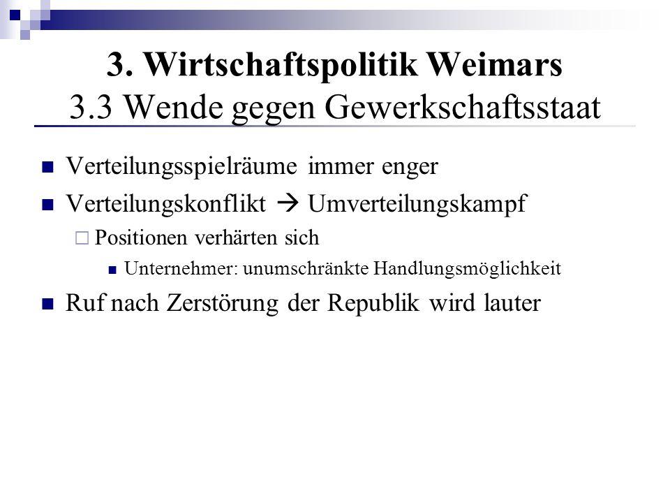 3. Wirtschaftspolitik Weimars 3.3 Wende gegen Gewerkschaftsstaat Verteilungsspielräume immer enger Verteilungskonflikt Umverteilungskampf Positionen v