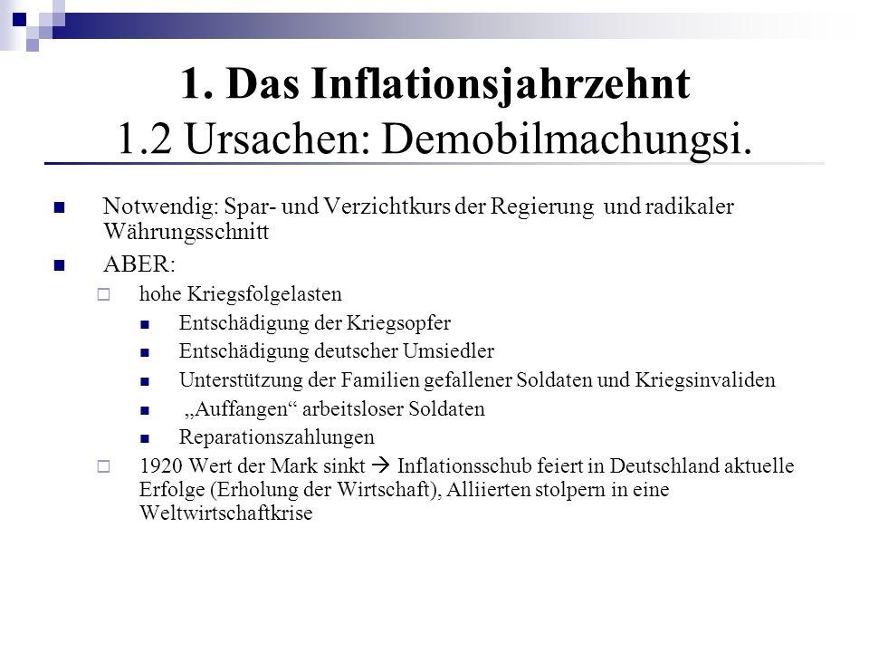 1. Das Inflationsjahrzehnt 1.2 Ursachen: Demobilmachungsi. Notwendig: Spar- und Verzichtkurs der Regierung und radikaler Währungsschnitt ABER: hohe Kr