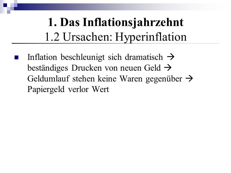 1. Das Inflationsjahrzehnt 1.2 Ursachen: Hyperinflation Inflation beschleunigt sich dramatisch beständiges Drucken von neuen Geld Geldumlauf stehen ke