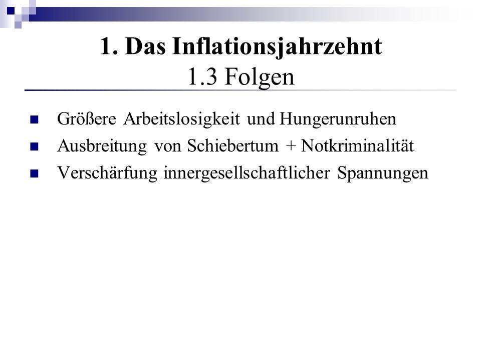1. Das Inflationsjahrzehnt 1.3 Folgen Größere Arbeitslosigkeit und Hungerunruhen Ausbreitung von Schiebertum + Notkriminalität Verschärfung innergesel
