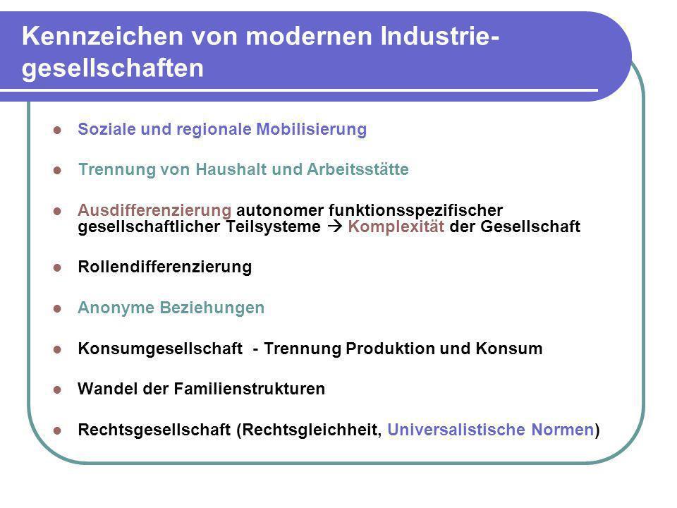 Kennzeichen von modernen Industrie- gesellschaften Soziale und regionale Mobilisierung Trennung von Haushalt und Arbeitsstätte Ausdifferenzierung auto