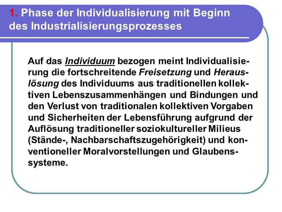 1. Phase der Individualisierung mit Beginn des Industrialisierungsprozesses Auf das Individuum bezogen meint Individualisie- rung die fortschreitende