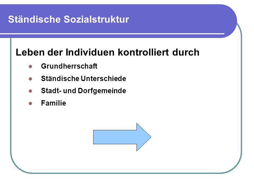 Ständische Sozialstruktur Leben der Individuen kontrolliert durch Grundherrschaft Ständische Unterschiede Stadt- und Dorfgemeinde Familie