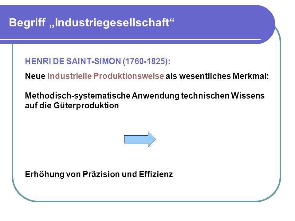 Begriff Industriegesellschaft HENRI DE SAINT-SIMON (1760-1825): Neue industrielle Produktionsweise als wesentliches Merkmal: Methodisch-systematische