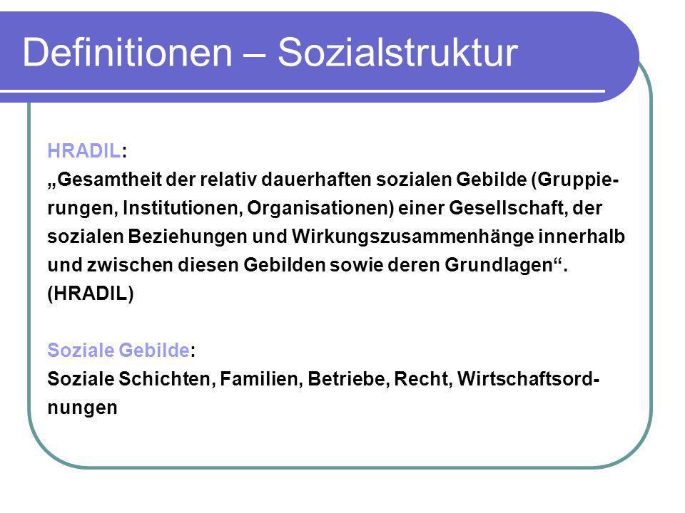 Definitionen – Sozialstruktur HRADIL: Gesamtheit der relativ dauerhaften sozialen Gebilde (Gruppie- rungen, Institutionen, Organisationen) einer Gesel