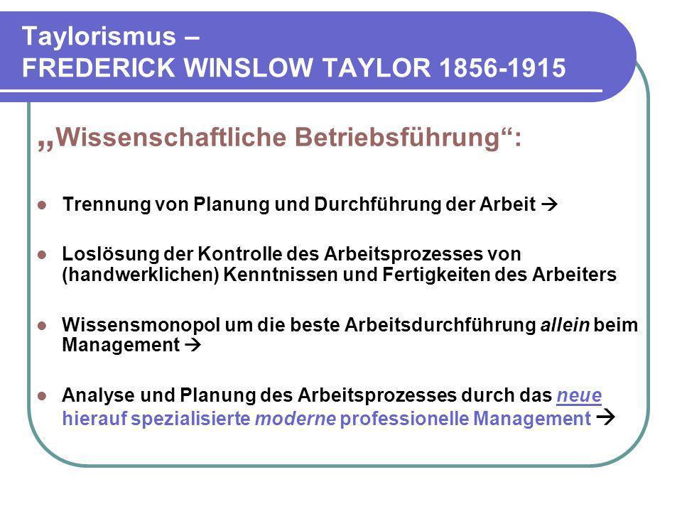 Taylorismus – FREDERICK WINSLOW TAYLOR 1856-1915 Wissenschaftliche Betriebsführung: Trennung von Planung und Durchführung der Arbeit Loslösung der Kon