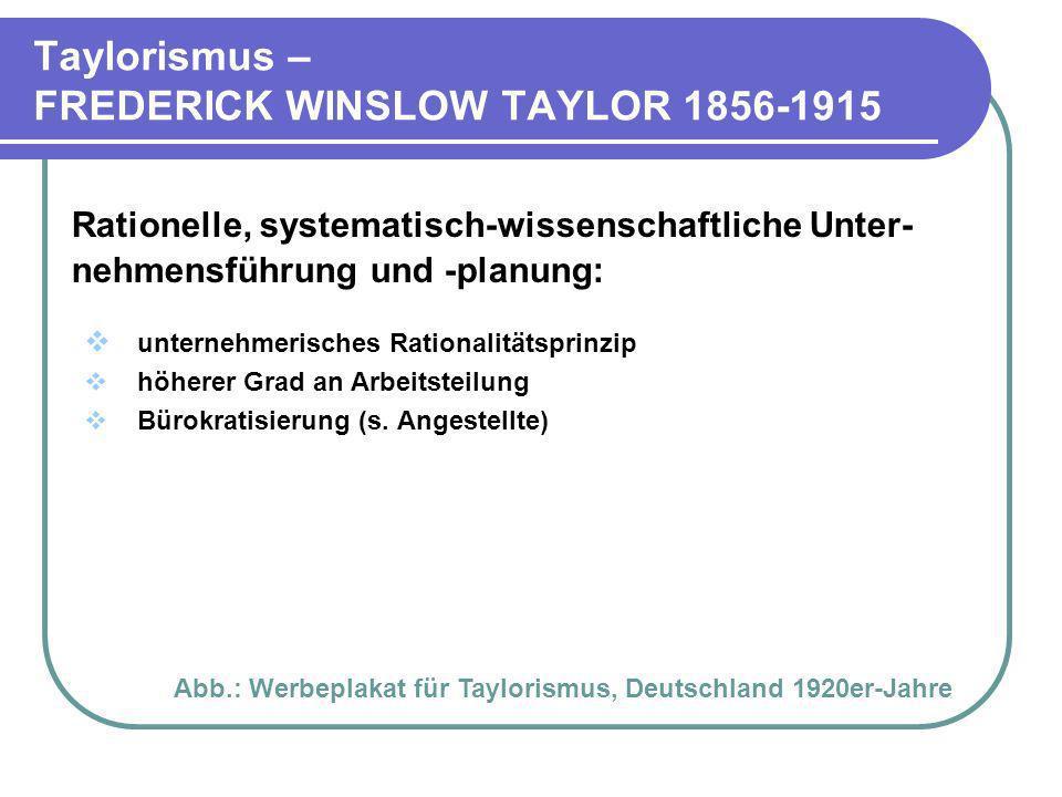 Taylorismus – FREDERICK WINSLOW TAYLOR 1856-1915 Rationelle, systematisch-wissenschaftliche Unter- nehmensführung und -planung: unternehmerisches Rati